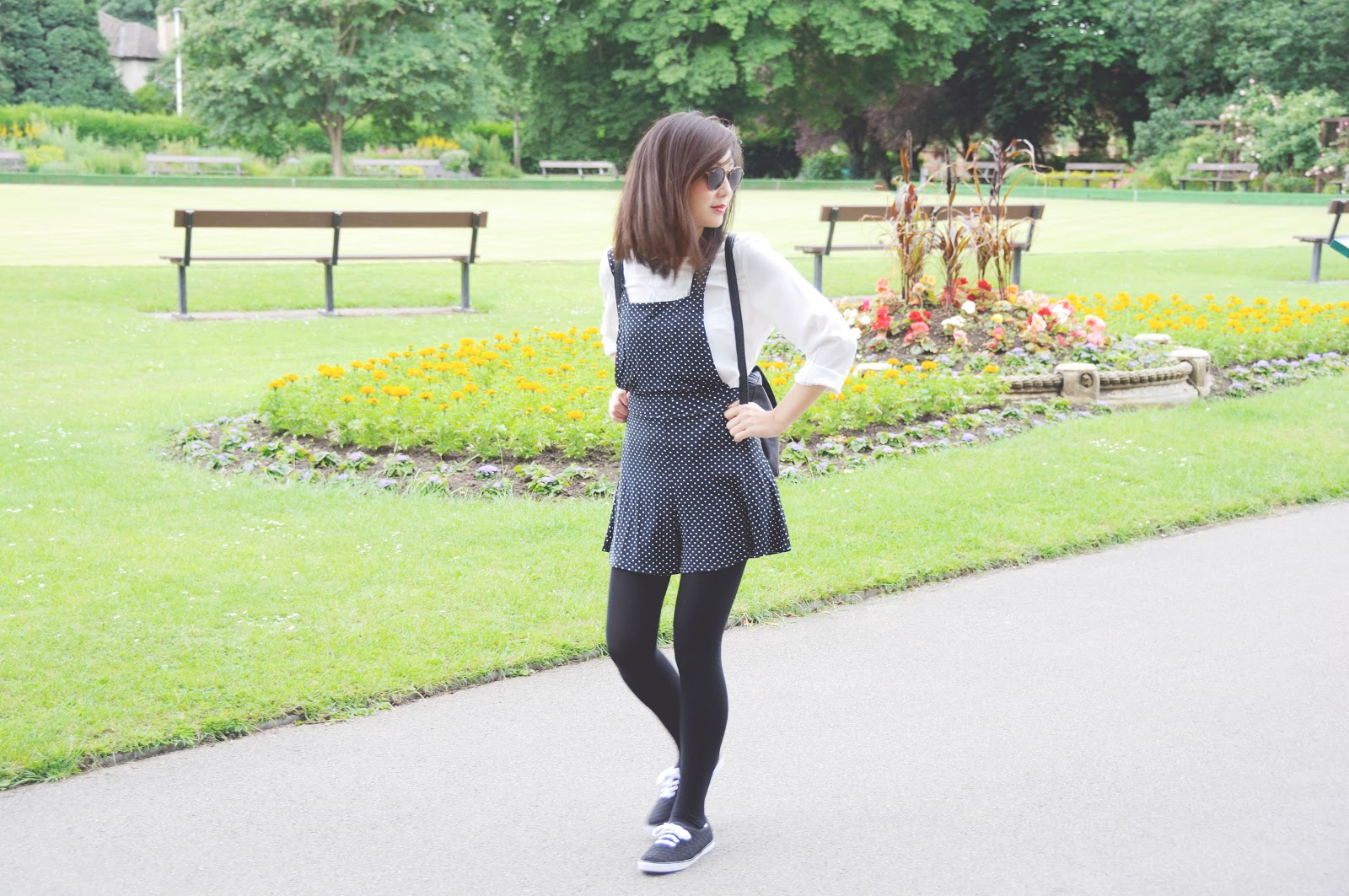 how to wear polkadot playsuit