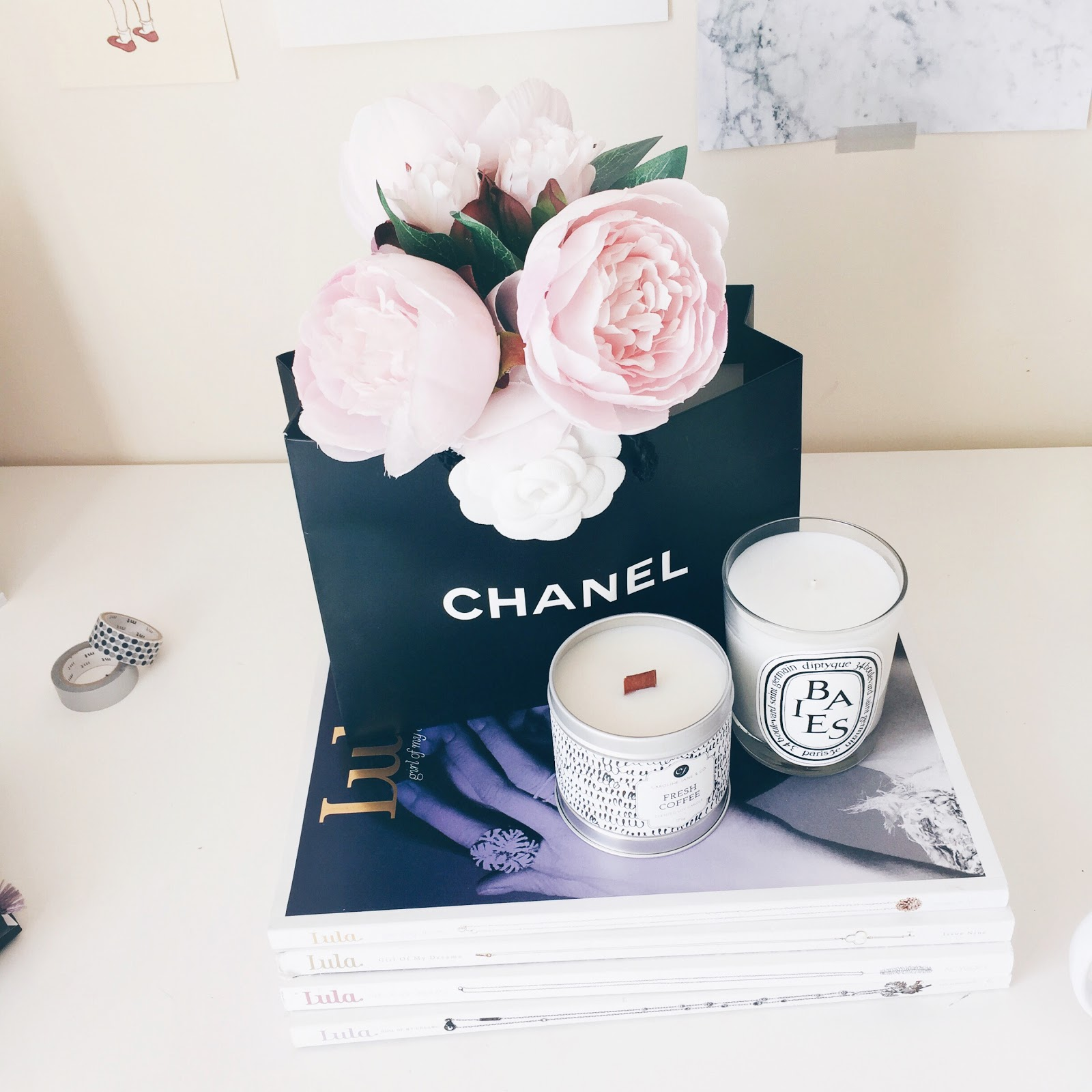desk space inspiration, flowers in chanel bag, peonies in chanel bag