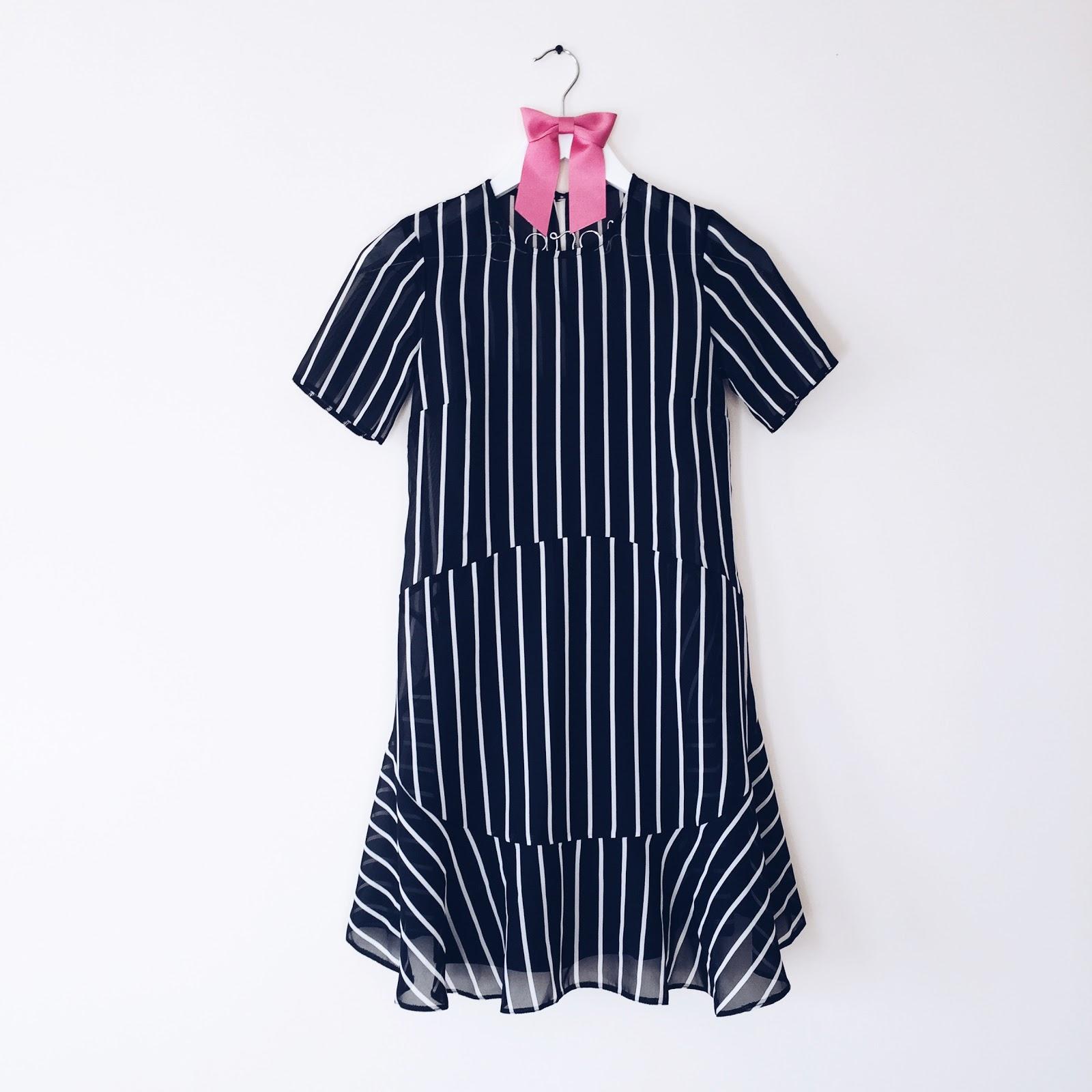 monochrome stripy dress