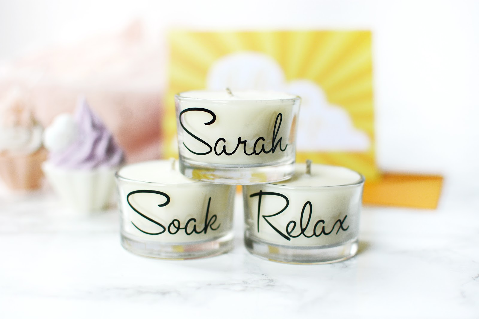personalised tea light candles gift set