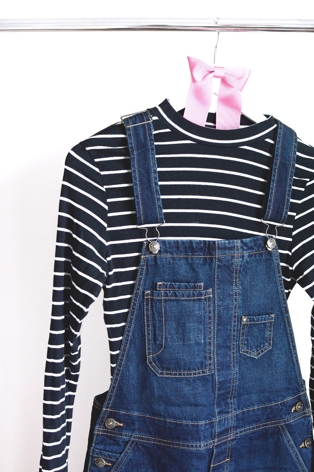 denim dungarees from lidl with stripy top