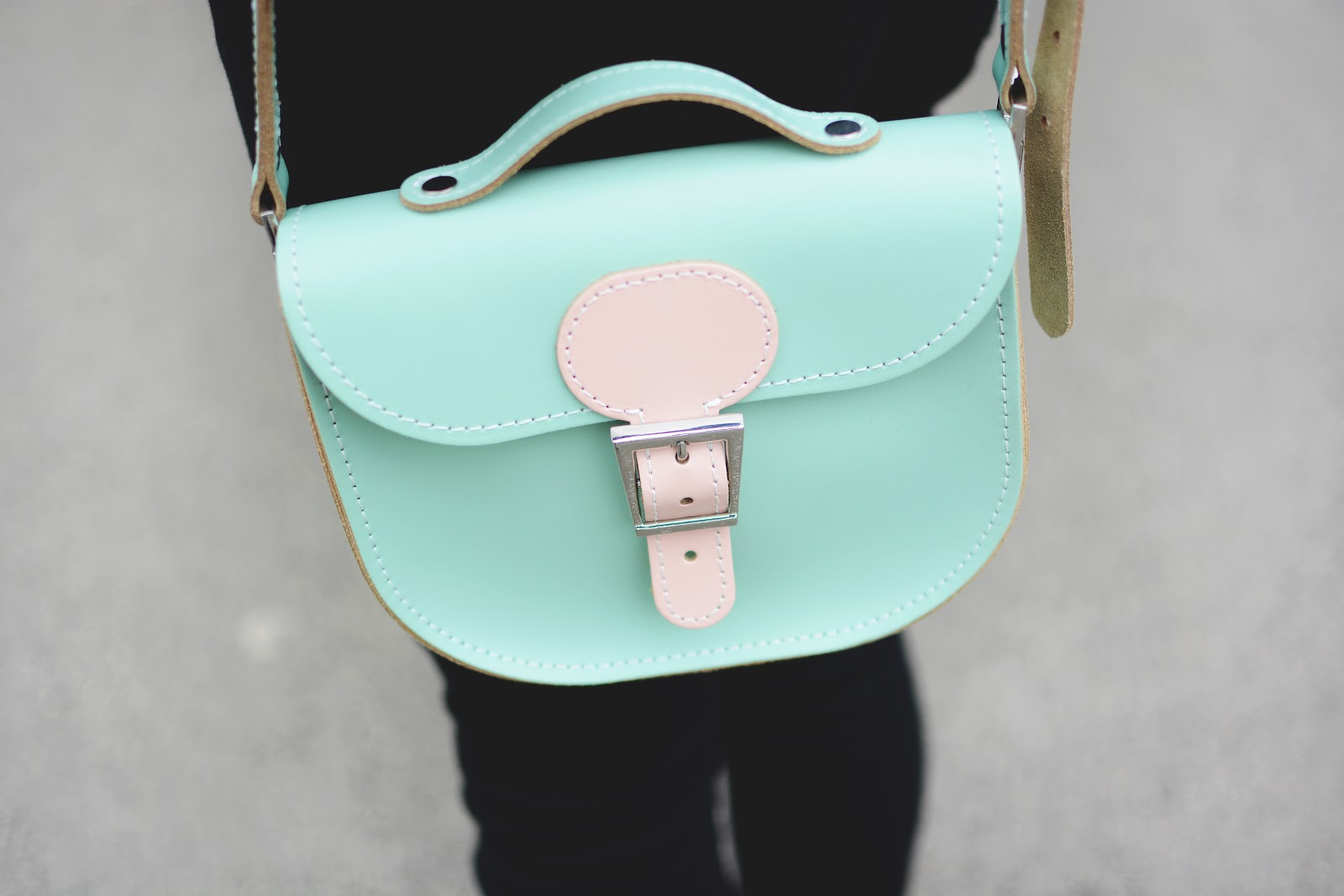 pastel green and pink brit stitch half pint leather satchel