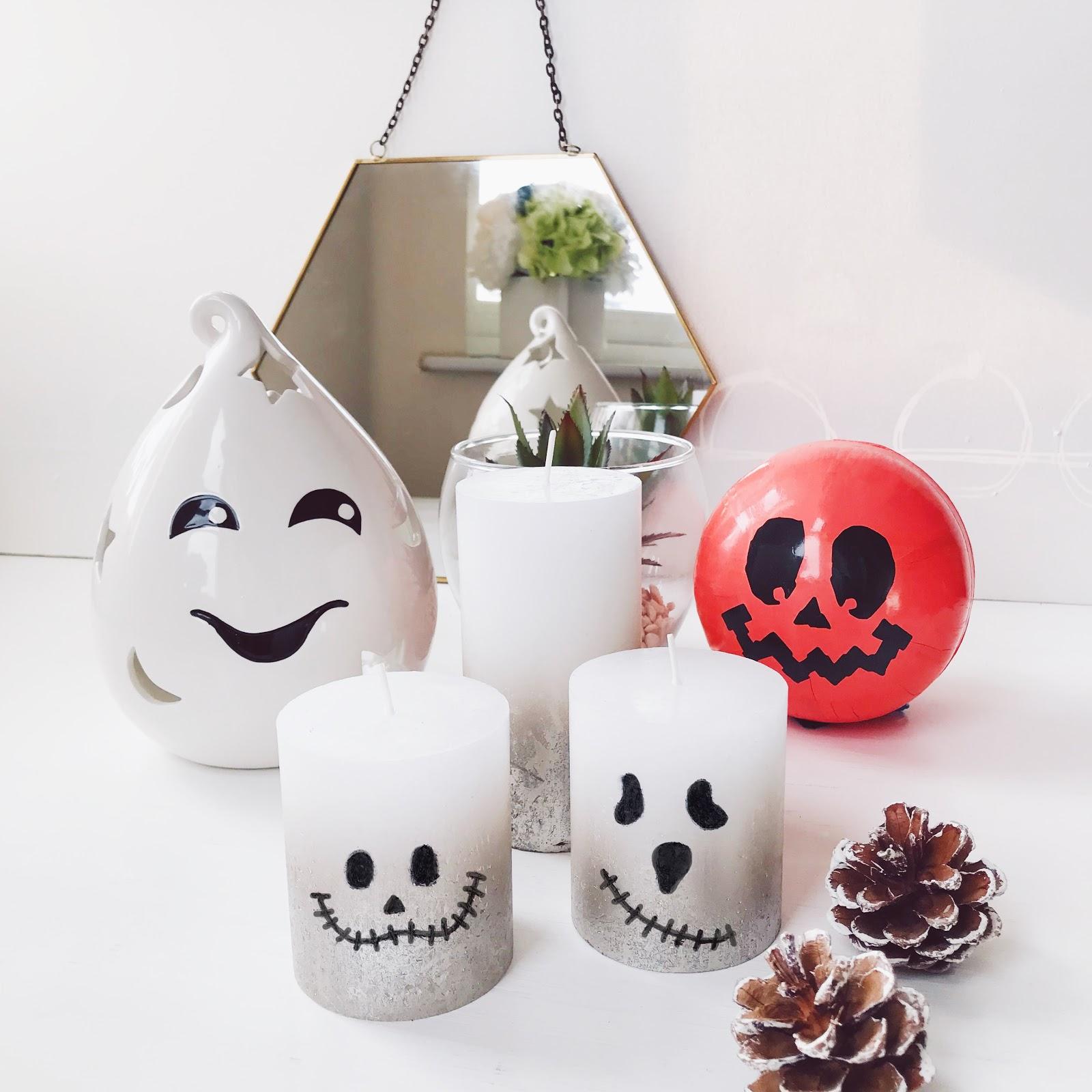 homemade halloween candles, ghost halloween candles